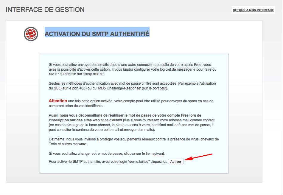 Activation du smtp authentifié